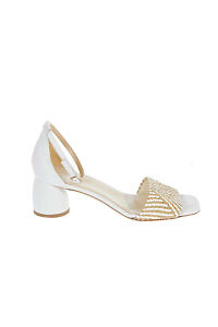 White GIOVANNA GRAZZINI sandals in raffia and leather with 4 cm block heels