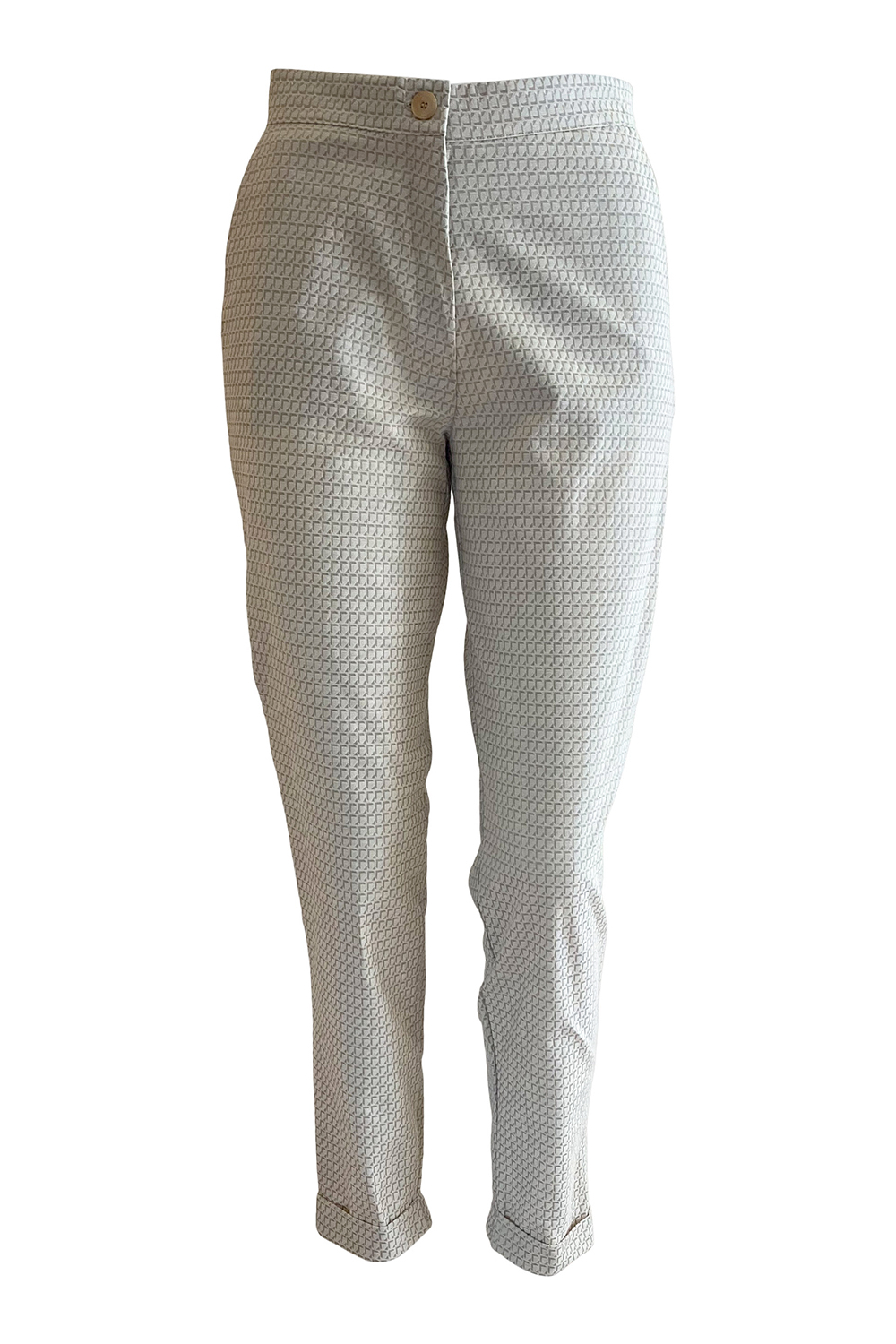 7/8 cigarette pants in beige and ivory printed cotton stretch jacquard TRACY