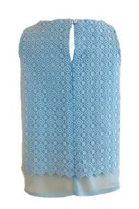 Layering-Top aus bestickter babyblauer Seide HERA