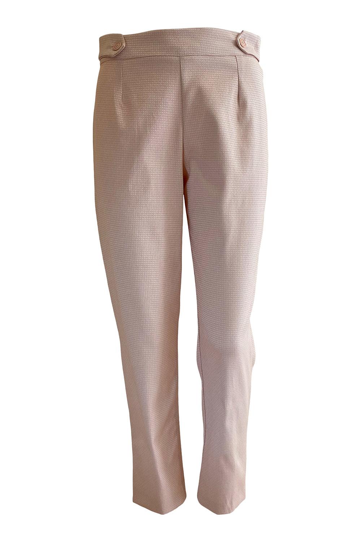 7/8 cigarette pants in salmon pink  colored piquée cotton stretch VIVIENNE