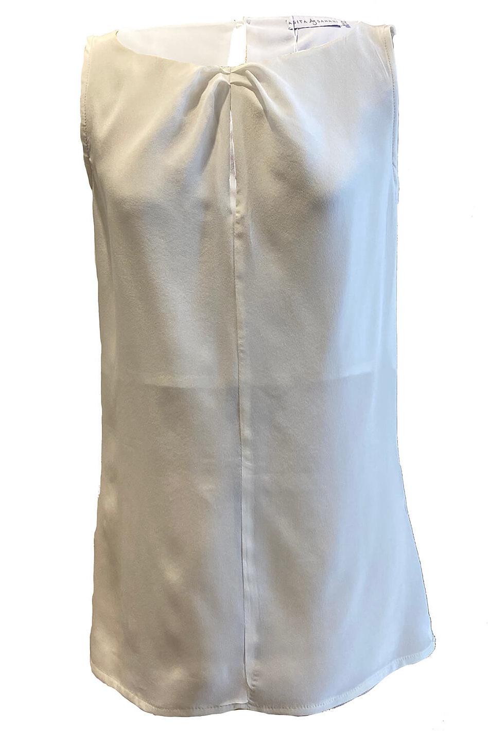 ecru silk top | ivory sleeveless silk blouse MAXIMA