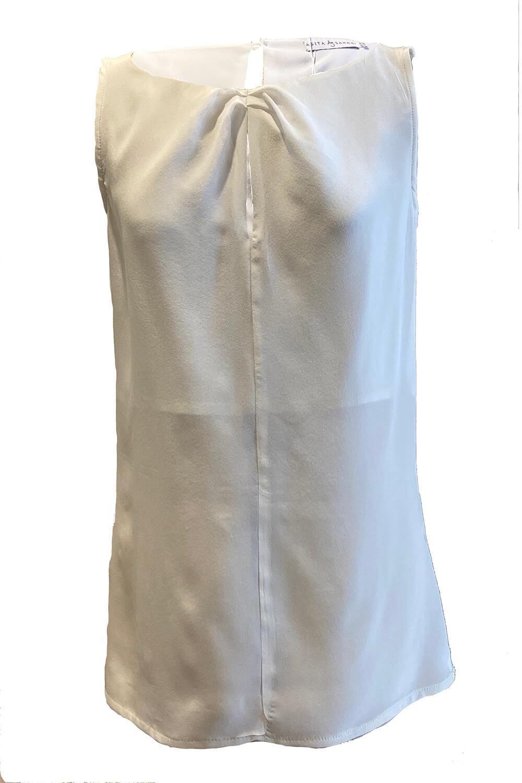 ecru silk top   ivory sleeveless silk blouse MAXIMA