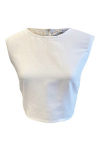 crop top with cutout at the back in white cotton GINEVRA
