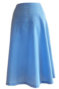 medium blu midi skirt in pure cotton MARTINA | blue cotton skirt