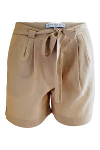 shorts in beige tencel NICOLE | beige paperbag shorts