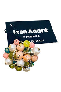 JEAN ANDRÉ ring in old pink, turquoise green and pistachio green made of resin ILARIA