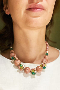 JEAN ANDRÉ collier in old pink, turquoise green and pistachio green made of resin ADRINA
