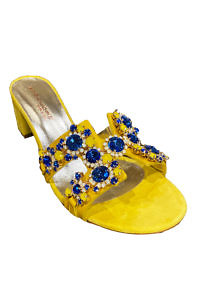 EDDICUOMO yellow and blue jewel sandals with 4 cm block heels | yellow Positano-sandals