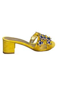 EDDICUOMO gelbe und blaue Juwelensandalen mit 4 cm Blockabsatz | gelbe Positano-Sandalen | gelbe Mules