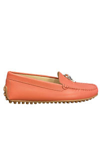 Coral red AIGNER nappa leather moccasin with a horse head detail
