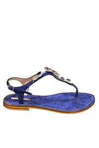 EDDICUOMO flat jewel sandal in dark blue   blue Positano-sandals