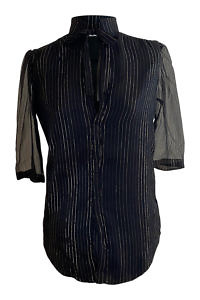 black silk chiffon blouse with golden stripes, half length sleeves and a bow ALLEGRA