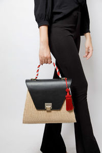 Jadise Sicilia | big black and red colored joyful bag in leather and raffia SABRINA