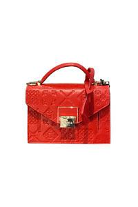 JADISE Sizilien | rote Minitasche aus Majolika geprägtem Leder LILY