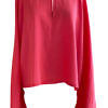 blouse with voluminous sleeves in pink viscose DAPHNE