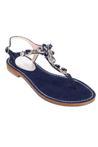 EDDICUOMO flat jewel sandal in dark blue | blue Positano-sandals