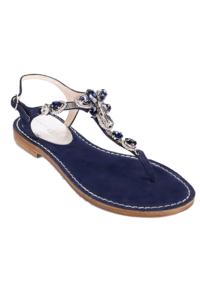 EDDICUOMO flache Juwelensandalen in Dunkelblau | blaue Positano-Sandalen | VORBESTELLUNG