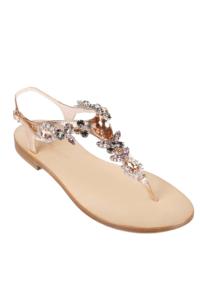 EDDICUOMO flache Juwelensandalen in Nude und Bernstein | beige Positano-Sandalen | VORBESTELLEN