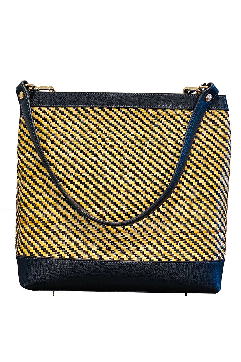 GIANNI NOTARO | big black and beige Tote in raffia and leather
