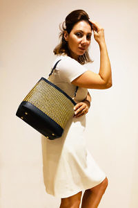 luxury black raffia and leather tote | GIANNI NOTARO Carol J