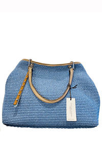 GIANNI NOTARO | big ice blue shopping tote in raffia and taupe leather
