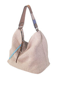 GIANNI NOTARO | large ecru shopping tote in raffia with taupe and ice blue leather details