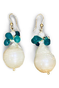 pendant earrings with pearls and green onyx ZANZIBAR