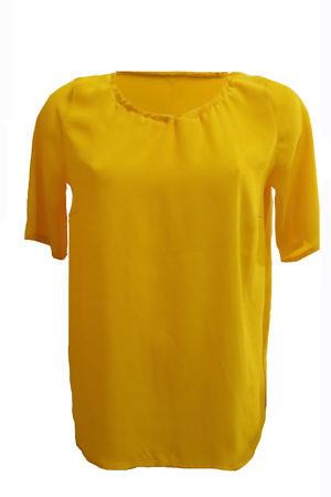 long loose silk tee LEYLA in saffron yellow crêpe de chîne