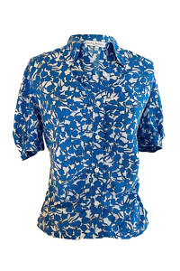 ruched blouse VALENTINA in blue, white and black floral printed viscose