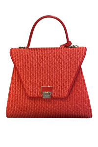JADISE Sicily | big red raffia and leather bag SABRINA
