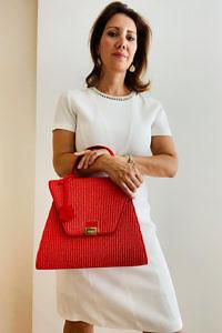 JADISE Sicily | big red raffia and leather bag SABRINA