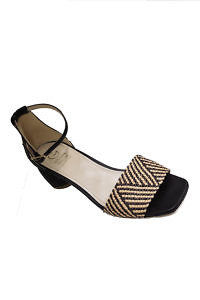 Black GIOVANNA GRAZZINI sandals in raffia and leather with 4 cm block heels