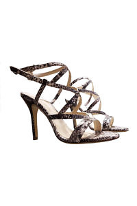 EDDICUOMO sandals in python printed leather with 9 cm penny heels - PREORDER