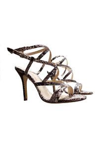 EDDICUOMO Sandalen aus mit Python-Muster bedrucktem Leder mit 9 cm Penny Heels - VORBESTELLUNG