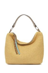 GIANNI NOTARO | large beige shopping tote in raffia with taupe and ice blue leather details
