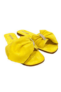 EDDICUOMO flat yellow suede leather sandals | yellow Positano-sandals