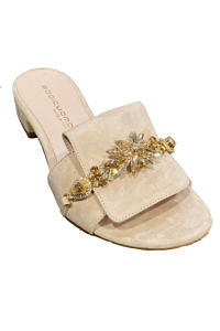EDDICUOMO flat beige suede leather mules | beige Positano-sandals