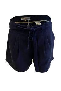 Shorts in beige Tencel NICOLE | dunkelblaue Paperbag-Shorts