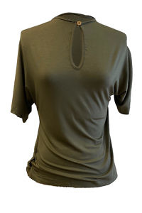 ASITA SAHABI olivgrünes Jersey-Oberteil | grünes Jersey T-Shirt SILVIA