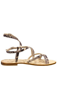 flat EDDICUOMO gladiator sandals in python printed leather