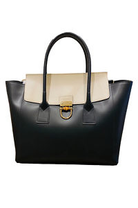 GIANNI NOTARO | big black and beige leather Tote