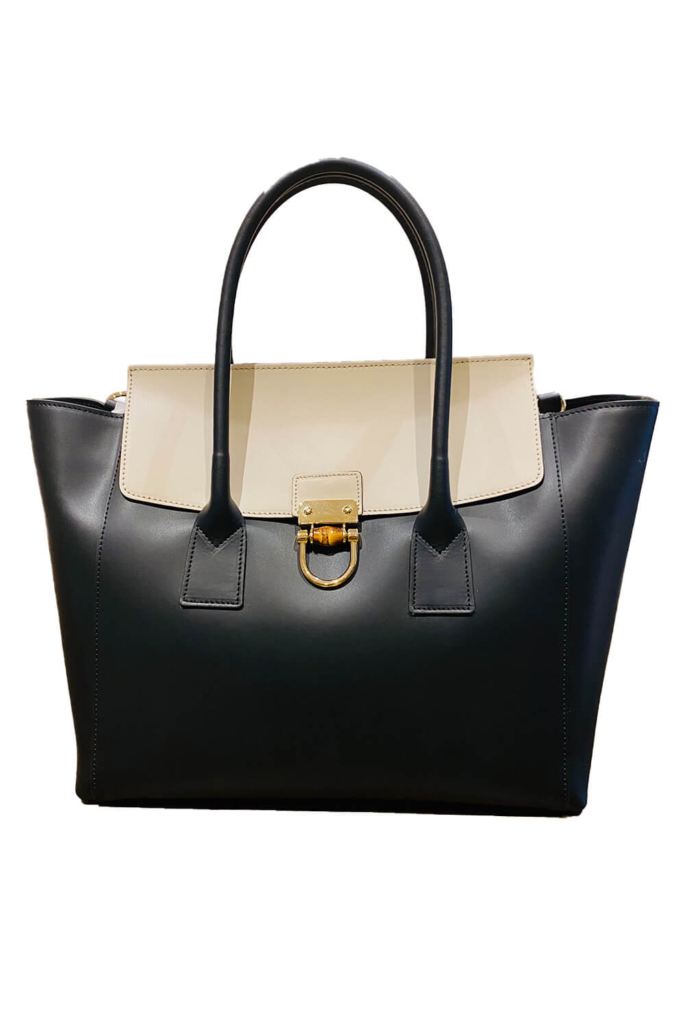 GIANNI NOTARO | large black and beige leather bag
