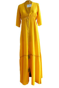 ASITA SAHABI yellow maxi dress in crêpe de chine | yellow silk dress