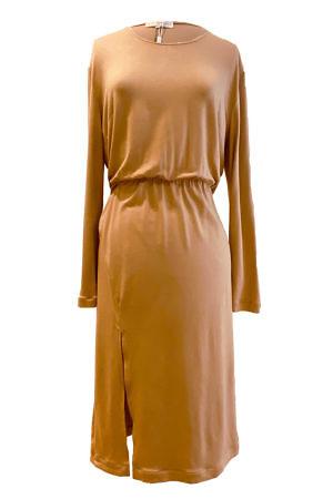 ASITA SAHABI Cognacfarbenes Hemdkleid | beiges Jerseykleid ROMA