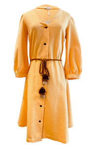 yellow linen dress in knee length NINA