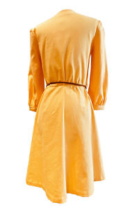 ASITA SAHABI yellow linen dress in knee length