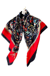 silk foulard ROMA with a floral print in blue and red