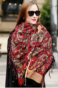 red wool Pashmina VERA with a floral pattern in ivory, yellow and brown