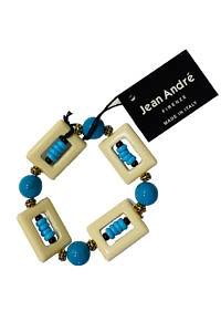 JEAN ANDRÉ bracelet in turquoise green and ecru made of resin KAMARI
