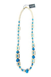 JEAN ANDRÉ long necklace in turquoise green and ecru made of resin PERISSA